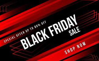 bannière de vente dynamique vendredi noir rouge et noir