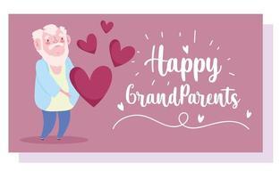 grand-père barbu avec carte de dessin animé coeurs