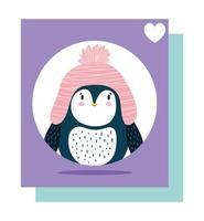 pingouin chapeau rose oiseau animal dessin animé carte de la faune