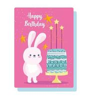 joyeux anniversaire lapin mignon avec carte de gâteau vecteur