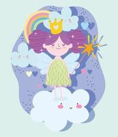 princesse avec baguette magique sur les nuages