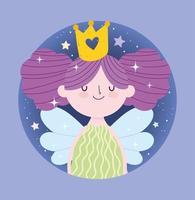 princesse fée aux ailes et couronne en or