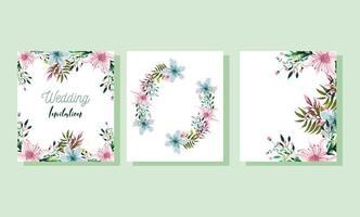 ensemble floral aquarelle invitation de mariage vecteur