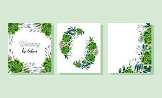 modèle de carte aquarelle fleurs et feuilles vecteur