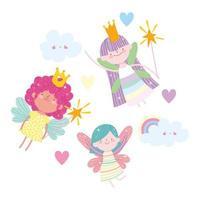 volant de petites princesses de fées parmi les nuages et les cœurs