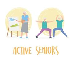 activité seniors, personnes âgées pratiquant l'exercice et les loisirs
