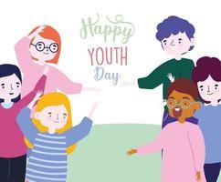 bonne fête de la jeunesse garçons et filles célébrant vecteur