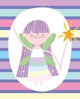 princesse fée avec baguette magique sur motif rayé