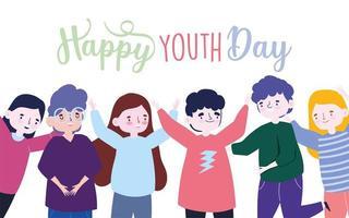 affiche de la fête de la jeunesse avec un groupe de personnes vecteur