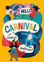 affiche colorée avec des gens s'amusant pour le carnaval vecteur