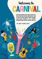 modèle d'affiche de carnaval avec des personnes célébrant vecteur