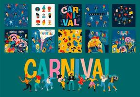 ensemble de dessins d'affiche carrée de carnaval