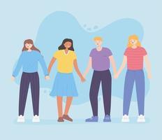gens ensemble, heureux homme et femmes se tenant la main