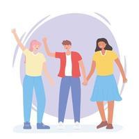 gens ensemble, femme et homme agitant les mains