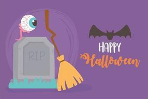 affiche de pierre tombale, balai, chauve-souris et oeil effrayant halloween vecteur