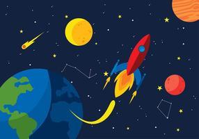 Cartoon espace Starship vecteur libre