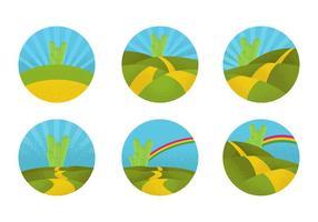 Route de briques jaune circulaire vecteur