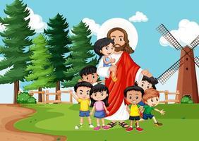 Jésus avec des enfants dans la scène du parc vecteur