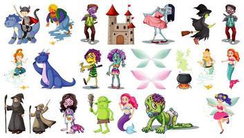 ensemble de personnages de dessins animés fantastiques