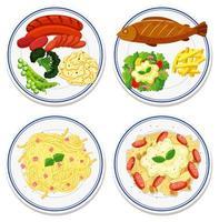 vue aérienne, de, nourriture, sur, plat, ensemble
