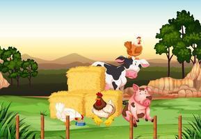 scène de ferme avec des animaux à la ferme vecteur
