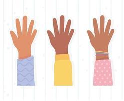 ensemble de mains design plat