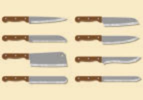Set de couteaux de cuisine vecteur