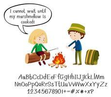 enfants au feu de camp avec alphabet