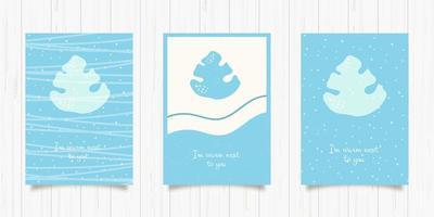 ensemble de cartes bleues hiver et feuille