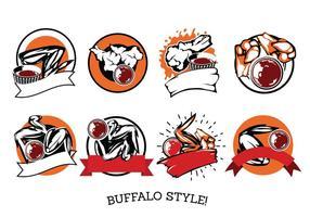 Vector label Buffalo Wings avec sauce