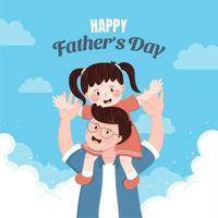 père portant sa fille sur le dos vecteur