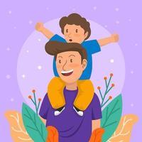 fête des pères heureuse colorée vecteur