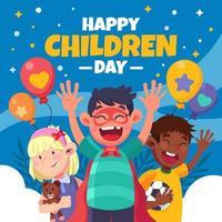 enfants souriants célébrant la journée des enfants vecteur