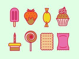 Dessert et icônes vectorielles douces vecteur