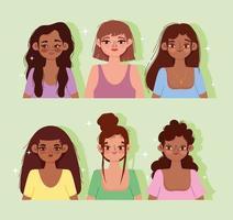 ensemble de portrait de culture de jeunes femmes vecteur