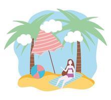 activités de personnes d'été fille sur une serviette vecteur