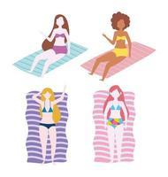 femmes, repos, sur, serviettes, dessin animé, ensemble vecteur