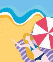 femme, sur, serviette, à, parapluie, plage vecteur