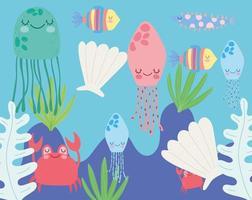 Méduse coquille crabe poisson algues scène de la vie marine