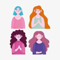 ensemble de personnages de dessins animés de femmes vecteur