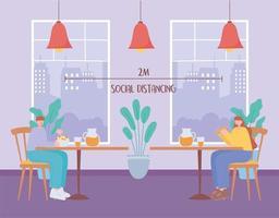 personnes mangeant et distanciation sociale dans un restaurant vecteur