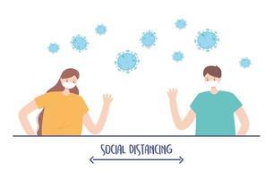 la distance sociale des gens vecteur