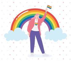 personne tenant un drapeau arc-en-ciel pour la célébration lgbtq vecteur