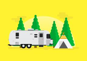 Sapin Jungle Camping Avec Airstream vecteur