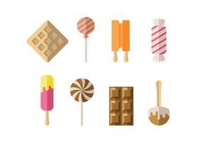 Bonbons, glaces et desserts icônes vecteur