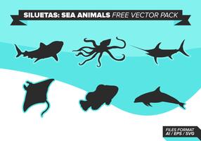 Siluetas Sea Animals gratuit Pack Vector