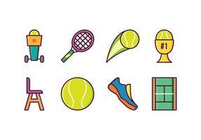 Icônes de tennis gratuites vecteur