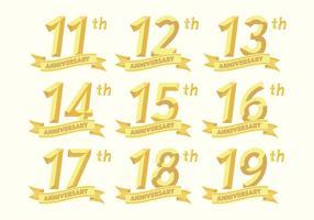 11e anniversaire badges 19e vecteur