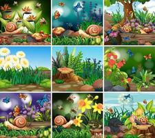 ensemble de scènes de nature de fond avec des fleurs vecteur