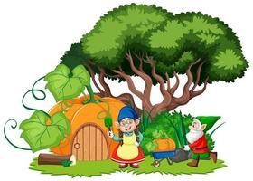 gnomes et style de bande dessinée maison citrouille vecteur